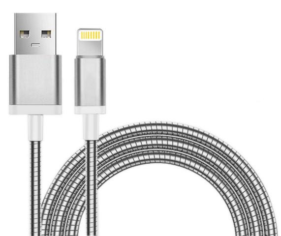 Apple Lade / Synckabel 8pin Lightning Stainless Steel Silber