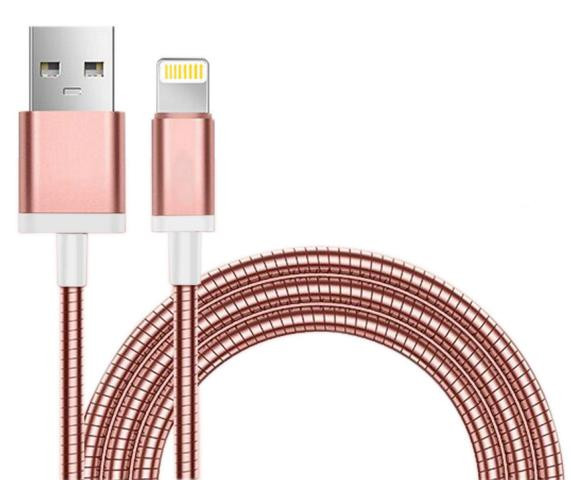 Apple Lade / Synckabel 8pin Lightning Stainless Steel Rose Gold